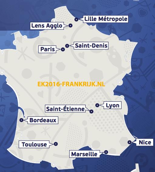 speelsteden ek2016 frankrijk